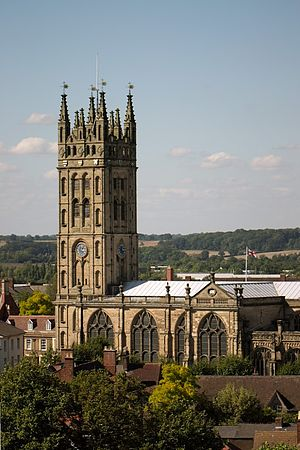 Collegiate Church of St Mary, Warwick - Tower and nave of the church as viewed from Warwick Castle