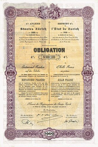 Canton of Zürich - Bond of the state Zurich (canton), issued 25. February 1909