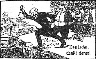 Stab-in-the-back myth - A 1924 right-wing German political cartoon showing Philipp Scheidemann, the German Social Democratic politician who proclaimed the Weimar Republic and was its second Chancellor, and Matthias Erzberger, an anti-war politician from the Centre Party, who ended World War I by signing the armistice with the Allies, as stabbing the German Army in the back