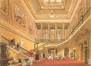 Lancaster House - The central hall and principal staircase of Lancaster House by Joseph Nash, 1850