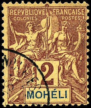 Mohéli - Postage stamps were issued for Mohéli briefly under French rule; this two-centime value dates from 1906.