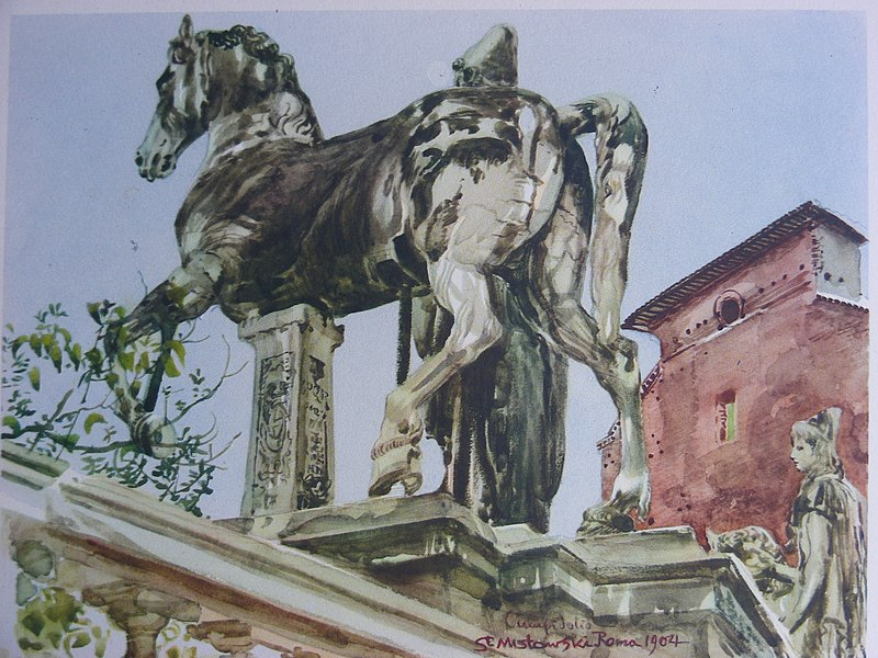 Stanis%C5%82aw Mas%C5%82owski (1853-1926), The Horse statue in the entrance to Capitoline Hill, Rome,1904,watercolour, 32x43.5 cm.jpeg