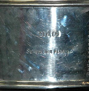 "2004–05 NHL lockout - The words ""2004–05 Season Not Played"" engraved on the Stanley Cup, acknowledging the canceled 2004–05 season"