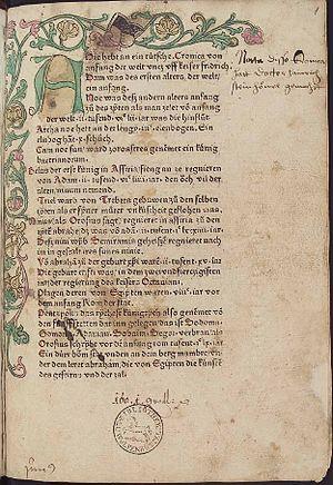Heinrich Steinhöwel - German Chronicle by Steinhöwel, printed in Ulm, 1473