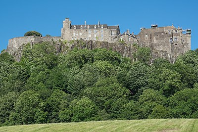 Stirling Castle; the Jacobites spent two months in early 1746 unsuccessfully besieging the strongest fort in Scotland. Stirling Castle 2017.jpg