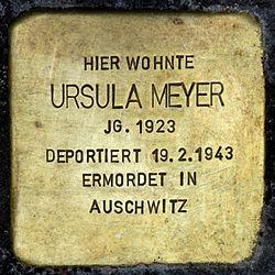 Photo of Ursula Meyer brass plaque