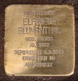 Photo of Elfriede Blumenthal brass plaque