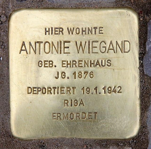 Photo of Antonie Wiegand brass plaque