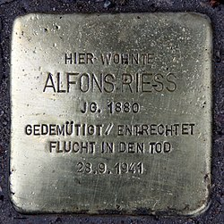 Photo of Alfons Riess brass plaque