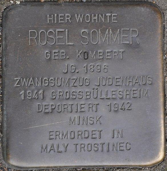 Datei:Stolpersteine Euskirchen-Kuchenheim, Rosel Sommer (Kuchenheimer Str. 115).jpg