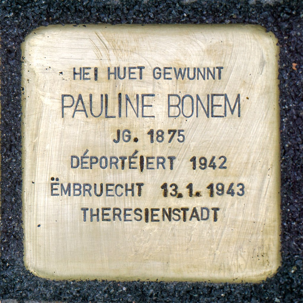 Stolpersteine Pauline Bonem Mondorf-les-Bains, 42 rue du Moulin 01.jpg