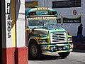 Street Scene with Colorful Bus - Quetzaltenango (Xela) - Guatemala (15775240700).jpg