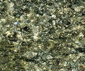 Cumulate rock - Image: Sulfidic norite (platinum palladium ore) Stillwater Mine MT