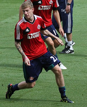 James McClean - McClean warming up for Sunderland in August 2012.