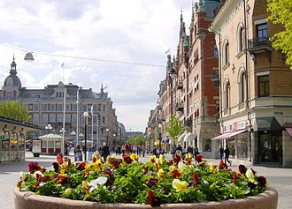 "Sundsvall - Storgatan, the famous main street in Sundsvall in the heart of Stenstaden (""The stone city"")"