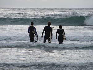 Cardiff-by-the-Sea, Encinitas, California - Image: Surfers At Cardiff Reef