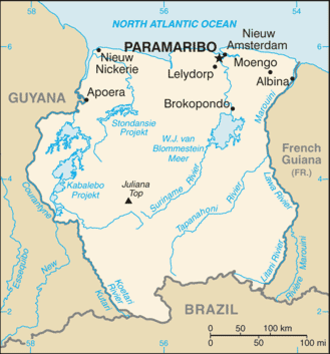 Geography of Suriname - Map of Suriname