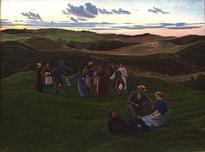 Fritz Syberg - Image: Syberg Aftenleg i Svanninge Bakker 1900