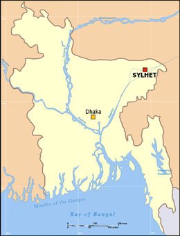 Location of Sylhet from the capital within Bangladesh