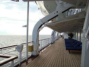 Promenade deck - Promenade deck aboard TSS ''Fairsky''.