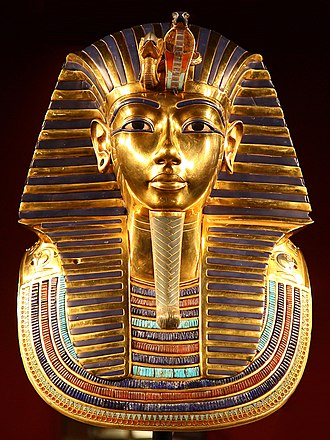 Uraeus - Mask of Tutankhamun's mummy featuring a uraeus, from the eighteenth dynasty. The cobra image of Wadjet with the vulture image of Nekhbet representing of the unification of Lower and Upper Egypt