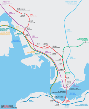 Tsuen Wan Line - Tsuen Wan Line route map (with detailed interchanges)
