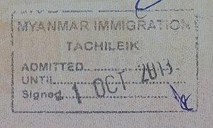 Tachileik - Myanmar passport stamp for entry at Tachileik