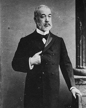 Count Tadasu Hayashi was the resident minister to Great Britain. While serving in London from 1900, he worked to successfully conclude the Anglo-Japanese Alliance and signed on behalf of the government of Japan on January 30, 1902. Tadasu Hayashi c1902.jpg