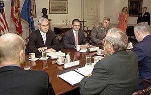 Vuk Jeremić - Tadić and Jeremić meeting with US Secretary of Defense Donald Rumsfeld at The Pentagon, 20 July 2004