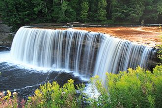 Upper Peninsula of Michigan - The Upper Falls of the Tahquamenon River, near the northern shore of the peninsula.