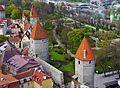 Tallinn Blick von der Olaikirche auf die Stadtmauer 2.JPG