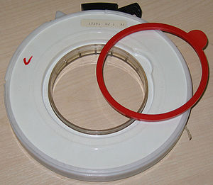 IBM 7 track - A write protection ring had to be inserted in the back of a reel to allow its tape to be written on.