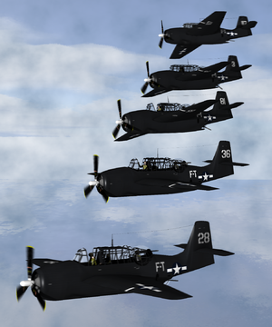 Flight 19 - Artist's depiction of the five Grumman TBM Avengers that disappeared