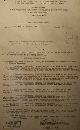 Conversations with a Killer: The Ted Bundy Tapes - Bundy's death sentencing document