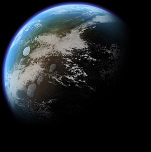 Terraforming of Mars - Artist's conception of a terraformed Mars centered on the Tharsis region