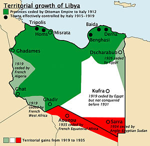 Italian libya facts for kids kidzsearch territorial growth of italian libya territory given to italy by the ottoman empire 1912 effectively italy controlled only five ports territories given by sciox Choice Image