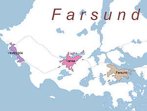 Farsund - Map of urban areas in Farsund