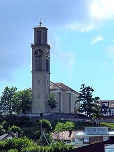 Thalwil - Reformierte Kirche - Dampfschiff Stadt Zürich 2012-07-22 15-43-40 (P7000).JPG