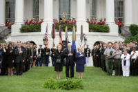 Vice President Dick Cheney and Lynne Cheney stand with former Prime Minister Margaret Thatcher of Great Britain for a moment of silence on the South Lawn September 11, 2006, to commemorate the fifth anniversary of the September 11th terrorist attacks.