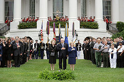Thatcher attends the official Washington, D.C. memorial service marking the 5th anniversary of the 9/11 terror attacks, pictured with Vice President Dick Cheney and his wife Lynne Cheney.
