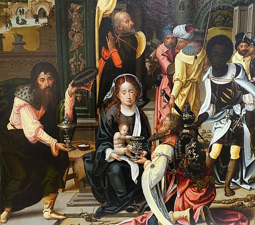 The Adoration of the Magi, with the Nativity and the Presentation in the Temple, Master of 1518, Netherlandish, c. 1520, oil on panel, detail - Fogg Art Museum, Harvard University - DSC01065