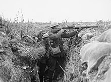 Territorial Lewis machine-gun team in the trenches