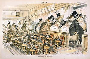 Political corruption - Reformers like the American Joseph Keppler depicted the Senate as controlled by the giant moneybags, who represented the nation's financial trusts and monopolies.