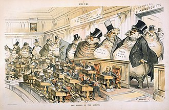 "Progressivism in the United States - ""The Bosses of the Senate"", a cartoon by Joseph Keppler depicting corporate interests–from steel, copper, oil, iron, sugar, tin, and coal to paper bags, envelopes, and salt–as giant money bags looming over the tiny senators at their desks in the Chamber of the United States Senate."