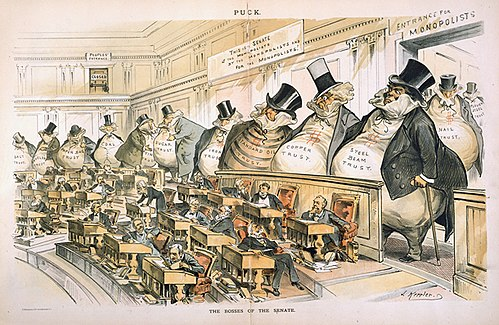 Reformers like the American Joseph Keppler depicted the Senate as controlled by the giant moneybags, who represented the nation's financial trusts and monopolies. The Bosses of the Senate by Joseph Keppler.jpg