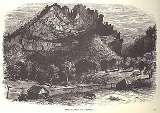 "Seneca Rocks - ""The Cliffs of Seneca"" (Wood engraving by David H.Strother, from ""The Mountains III"", Harpers New Monthly Magazine XLV (June 1872), 30.)"