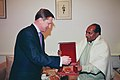The Defence Minister, Shri A.K. Antony presenting a memento to the Deputy Prime Minister & Defence Minister of Russia, Mr. S.B. Ivanov, who called on him, in New Delhi on January 24, 2007.jpg