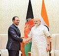The Foreign Minister of Afghanistan, Mr. Salahuddin Rabbani calls on the Prime Minister, Shri Narendra Modi, in New Delhi on September 11, 2017.jpg