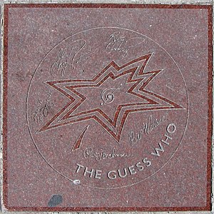 The Guess Who - The band's star on Canada's Walk of Fame. Signatures, from top left clockwise: Garry Peterson, Burton Cummings, Bill Wallace, Randy Bachman and Donnie McDougall