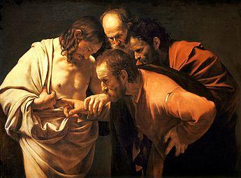 Toile représentant un homme incrédule qui met sa main dans la plaie qu'a au côté un autre homme.